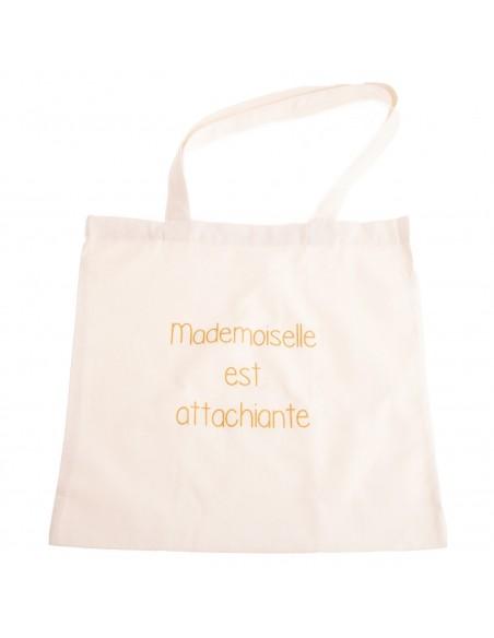 """Sac shopping en toile Tote bag écriture humour """" Mademoiselle est attachiante """""""