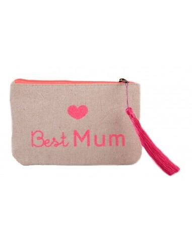 "Pochette écriture rose fluo "" Best Mum "" en toile fermeture zip & pompon tissu"