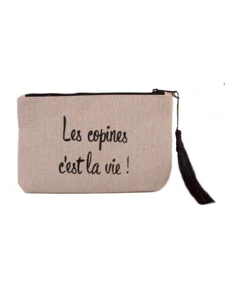 """Pochette toile imprimée """" Les copines c'est la vie """" fermeture zip"""