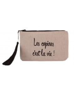 """Pochette toile imprimée trousse maquillage """" Les copines c'est la vie """" fermeture zip"""