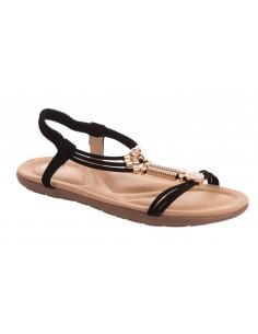 Sandales femme nus pieds noir lanières tressées & bijoux grandes pointures