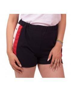 Short femme sport à pressions bleu blanc rouge & taille élastique