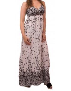 Robe longue fleurie motif noir & blanc fines bretelle cache coeur