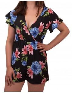 Combi-short femme à fleurs manches courtes et décolleté en V