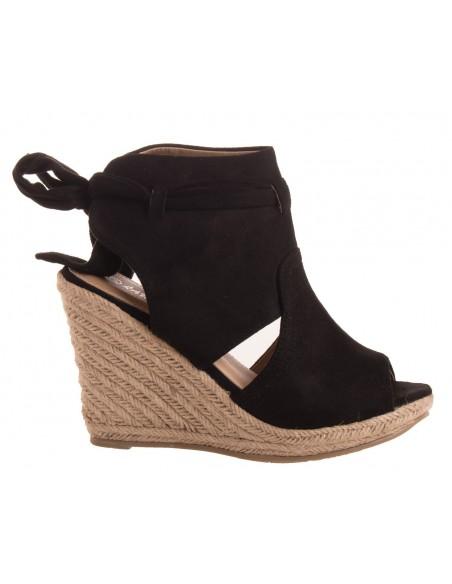 Sandales compensées femme en simili daim noir et noeud cheville à bout ouvert talon corde