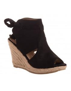 Sandales compensées noeud femme en simili daim noir à bout ouvert talon corde