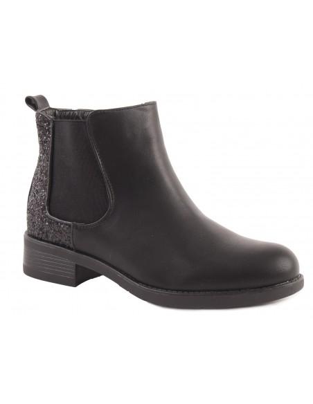 bottines femme chelsea noir à paillettes en simili cuir