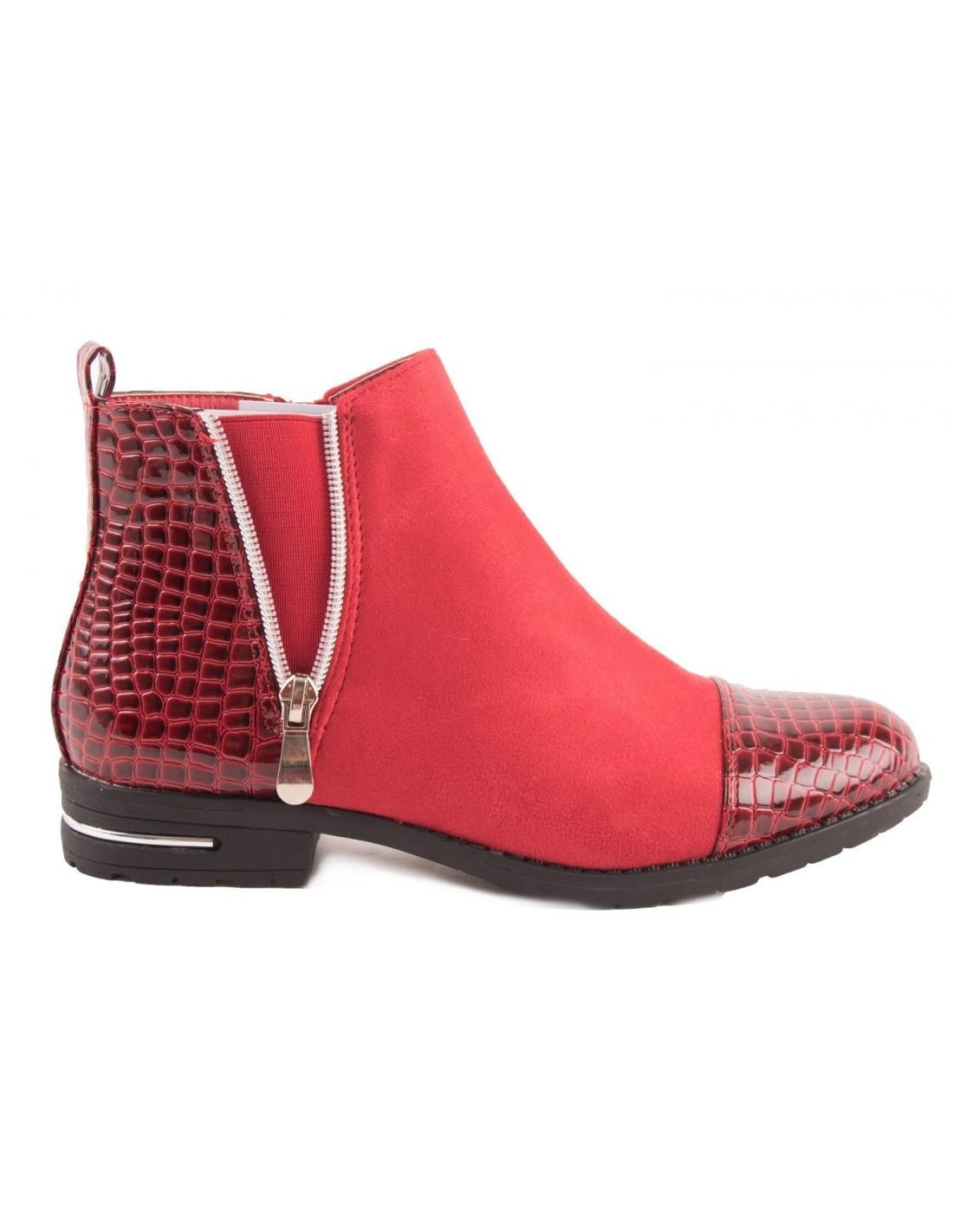 Bottines Femme croco simili Cuir & daim à zip| Noir Rouge ou