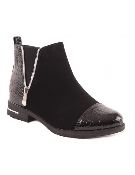 Bottines femme Noir motif croco simili Cuir vernis & daim à zip doré