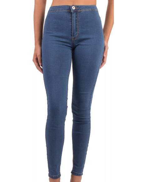 Jean femme skinny taille haute bleu délavé