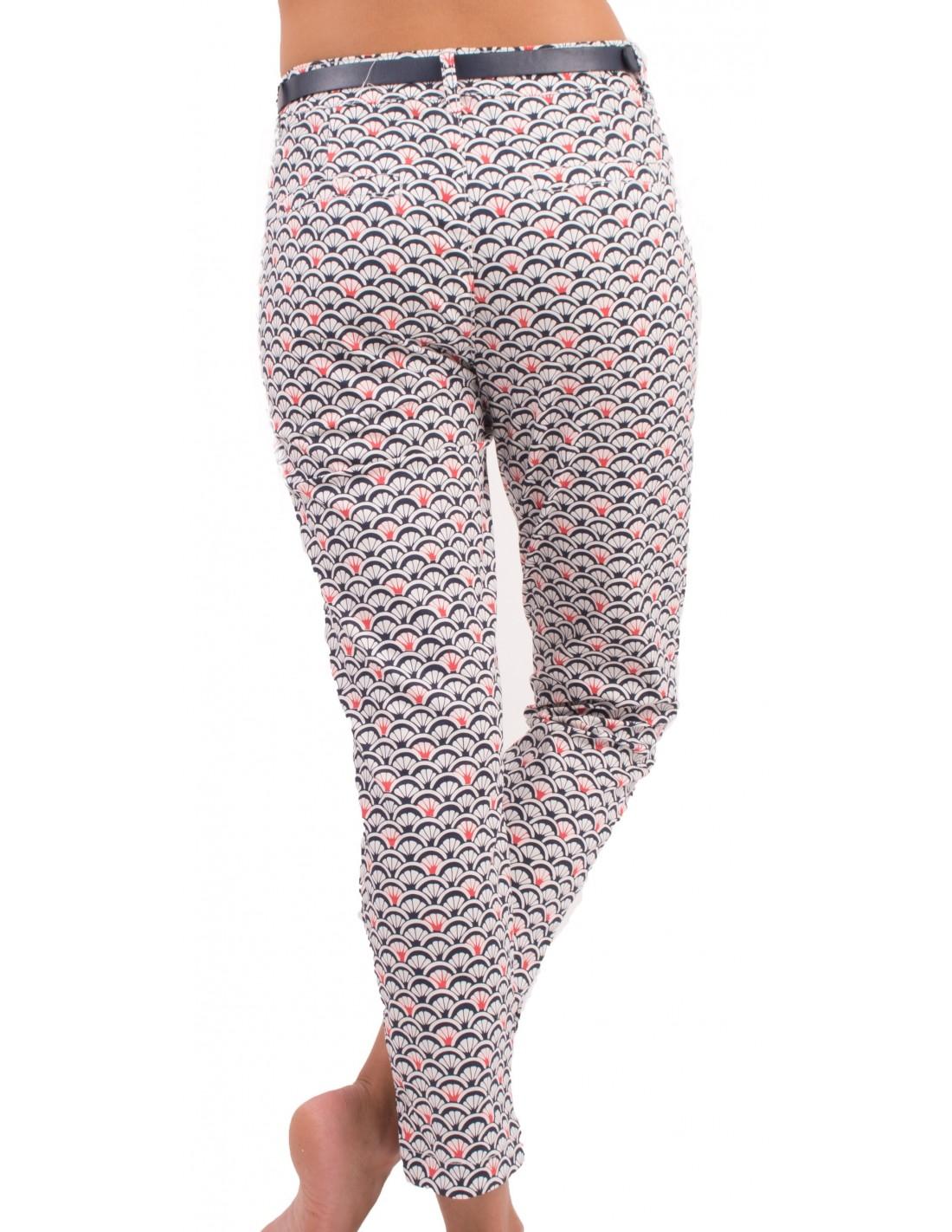 78 Chino Ceinture Femme Rouge Bleuamp; Pantalon Motif Avec Coquillage nw80OkP