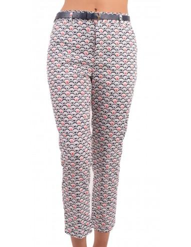 authentique en ligne sensation de confort Pantalon chino femme 7/8 motif coquillage bleu & rouge avec ceinture