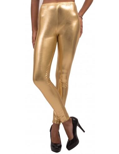 Legging femme métallisé argenté ou doré taille unique élastique