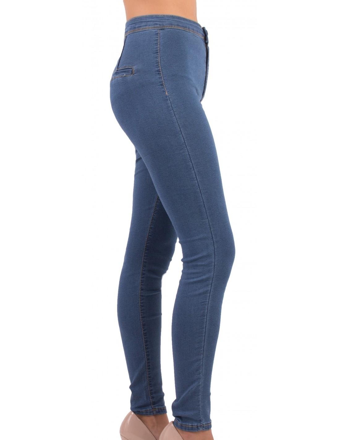 4d72d589df1 Jean femme skinny taille haute bleu jean stretch effet gainant bleu