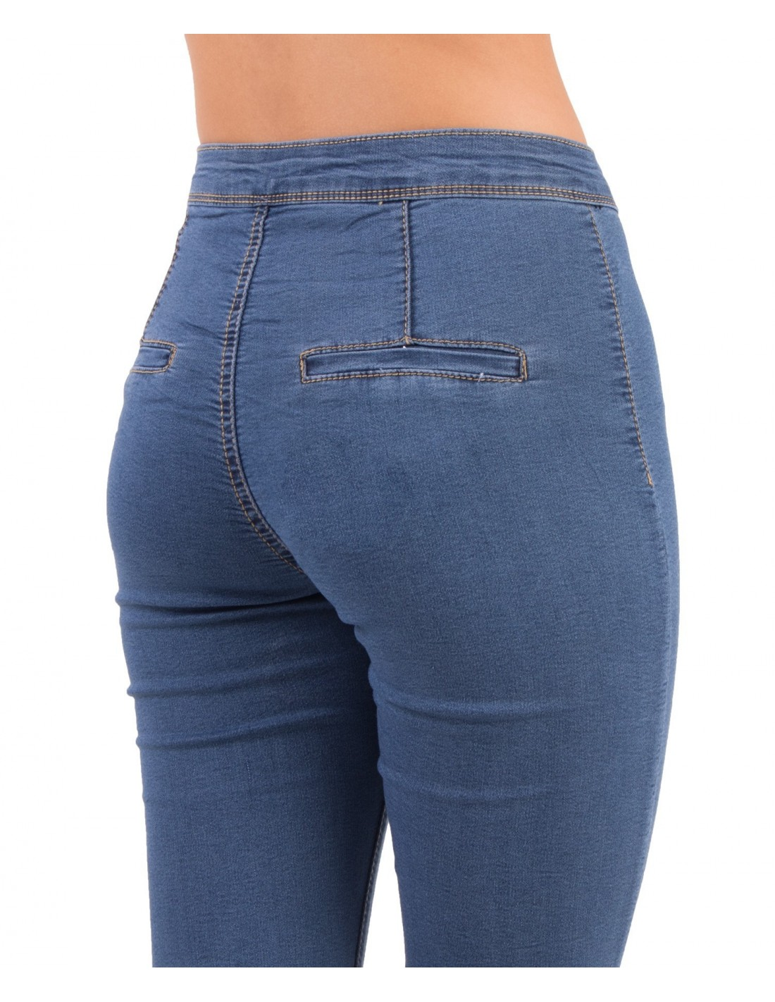 Jean femme skinny taille haute bleu jean stretch effet gainant bleu b9d41385bffd