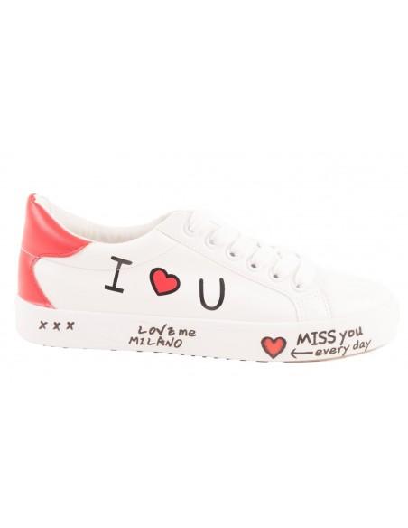 """Baskets femme imprimé écriture motif coeur  """" Miss you love Milano """""""