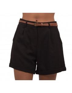 Short femme noir en tissu habillé & ceinture décorative