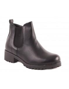 Bottines femme boots chelsea à talon carré & semelle crantée en simili cuir