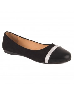 Ballerines femme noir grandes tailles bande argent semelle cuir simili daim & simili cuir