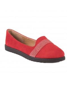 Mocassins rouge femme en suédine simili daim à bande pailletée