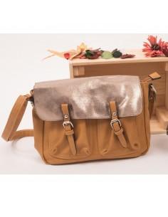 Besace femme camel style sac sacoche bandoulière effet pailleté