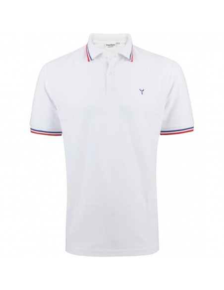 Polo homme manches courtes col bleu blanc rouge en coton coupe adjust fit