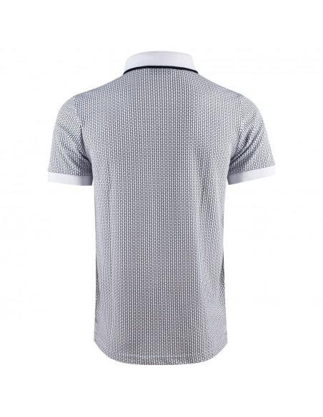 Polo homme manches courte coton maille piquée blanc motif bleu