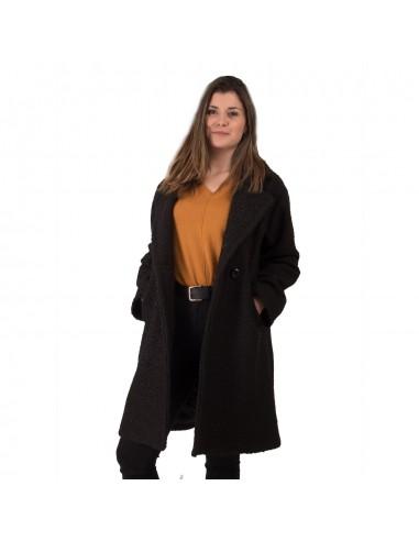la meilleure attitude 5fc71 620ef Manteau femme long en laine effet mouton fermeture bouton