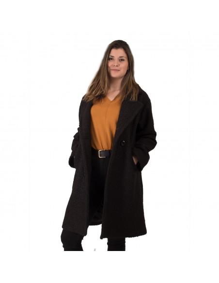 Manteau femme long en laine effet mouton fermeture bouton