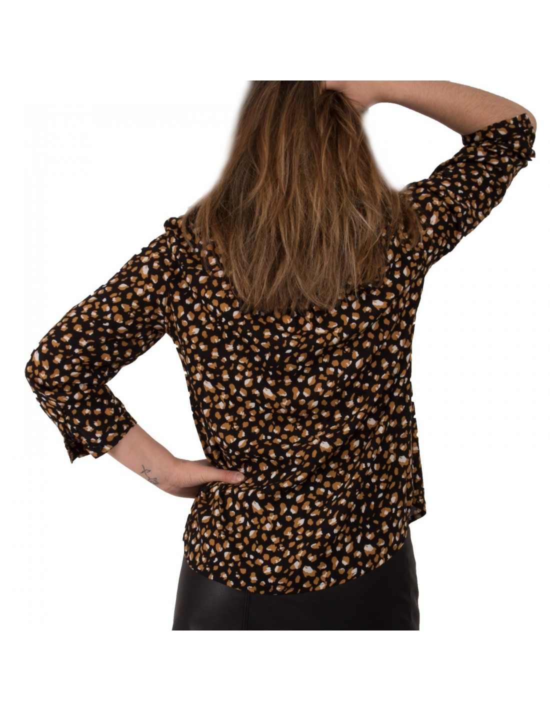 acheter populaire 24fcc 43cbe Chemisier femme motif léopard noir effet tacheté moutarde