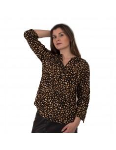 Chemisier femme motif léopard en coton noir effet tacheté moutarde