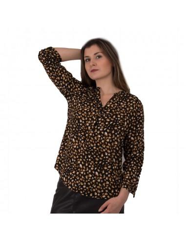 Chemisier femme motif léopard noir effet tacheté moutarde