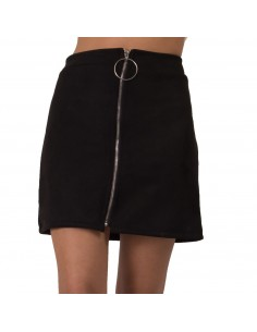 Mini jupe femme coupe droite en simili daim avec zip avant