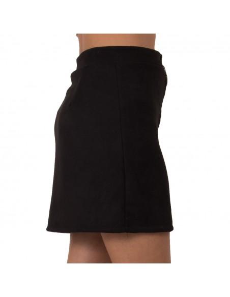Mini jupe en simili daim avec zip avant