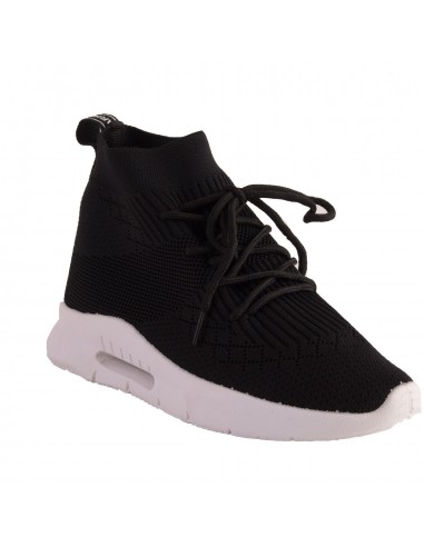 Baskets chaussettes femme toile noir avec semelle caoutchouc blanc