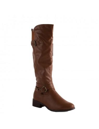 98255c4911cab9 Bottes femme marron camel avec mollet élastique et talon bas en simili cuir