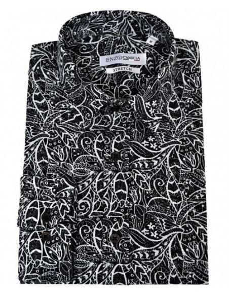 Chemise homme stretch slim fit motif ethnique maorie noir & blanc