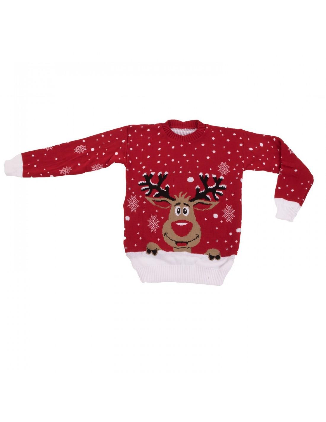 25636bb172602 Pull de Noël femme effet laine tête de renne & flocon de neige