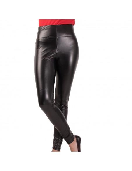 Jegging femme enduit effet simili cuir à taille haute doublure intérieure coton