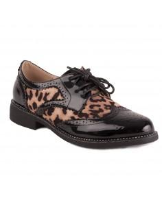 Derbies femme verni noir imprimé léopard animalier avec petit talon carré & strass