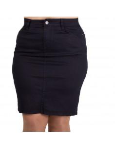 Jupe en jean femme grandes tailles coupe droite taille haute effet stretch 42-50
