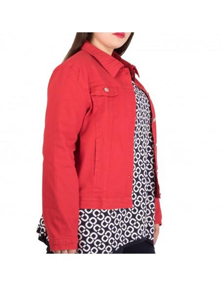 Veste en jean femme grande taille coupe stretch du 42 au 50 coloris rouge ou moutarde