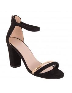 Sandales à talons femme daim noir lanière dorée & bride tour de cheville